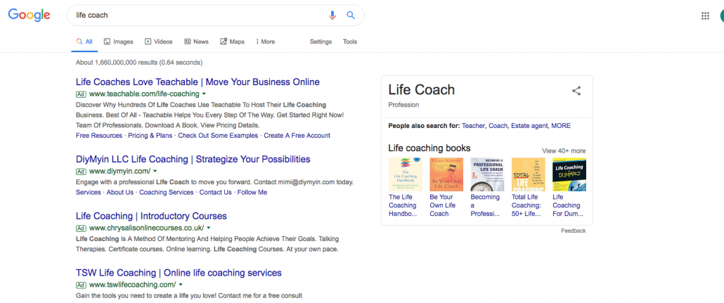 Image of a Google Search query for a life coach in post using 5 ways to improve website visibility