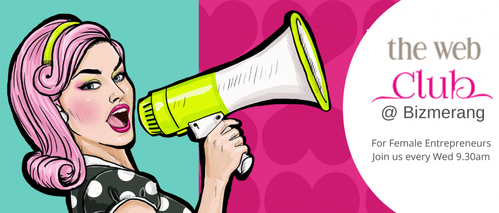 graphic of lady with megaphone advertising the web club